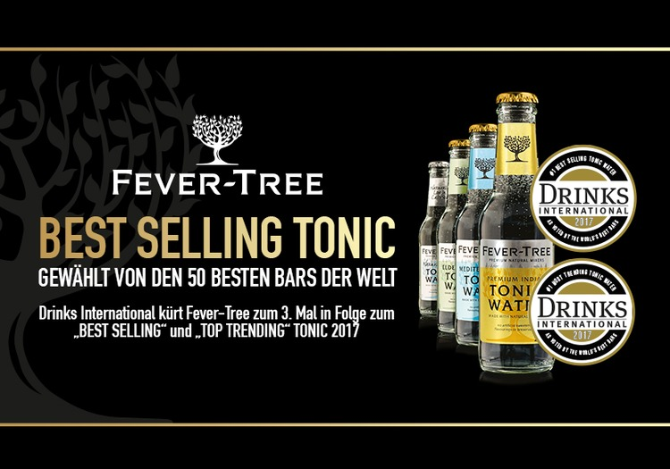 "Drinks International kürt Fever-Tree zum 3. Mal in Folge zur ""Best Selling"" und ""Top Trending"" Brand"
